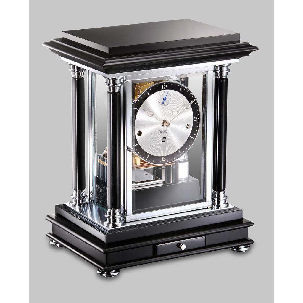 Kieninger Tischuhr 1246-96-01 Schwarz mit Chromwerk
