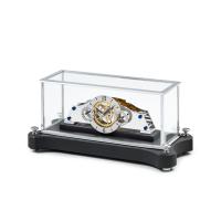 Matthias Näschke Tischuhr NT 5, rhodiniertes Uhrwerk, schwarzer Steinsockel