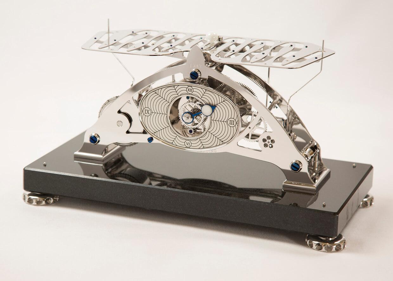 Sinclair Harding Tischuhr Congreve Clock, Kugellaufuhr rhodiniert, Steinsockel