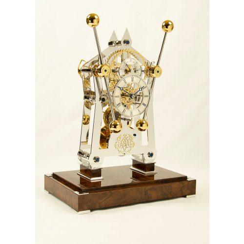 """Sinclair Harding Tischuhr """"His"""" Sea Clock rhodium mit Nußbaum Sockel"""