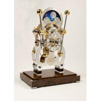 Sinclair Harding Tischuhr Sea Clock Moonphase rhodiniert, Nußbaumwurzel Sockel