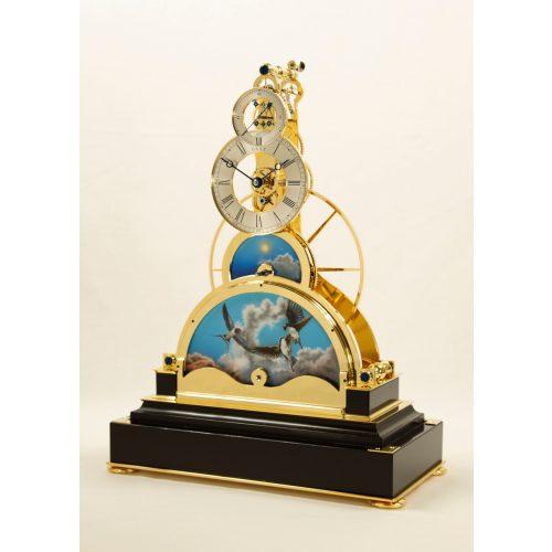 Sinclair Harding Tischuhr Sun and Moon Clock, vergoldet mit Schwarzem Sockel