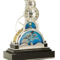 Sinclair Harding Tischuhr Sun and Moon Clock rhodiniert, Schwarzer Sockel