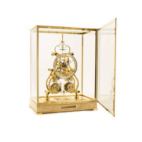 Sinclair Harding Tischuhr Two Train Condliff Clock, vergoldet mit Vogelaugenahorn Sockel