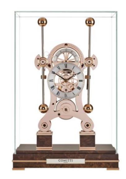 Comitti of London, Tischuhr, Limitierte Edition Navigator mit Nußbaum Sockel, rossvergoldet , Kaminuhr,