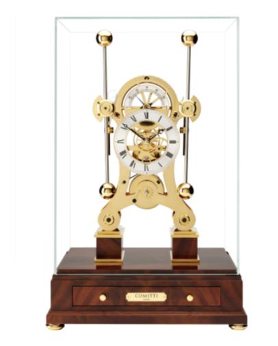 Comitti of London, Tischuhr, Navigator, Kaminuhr, Mahagoni Sockel, vergoldet